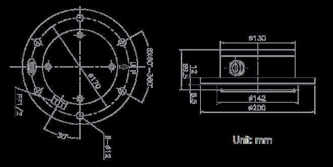 Dimension Parker JD-100 Diaphragm Level Switch Type